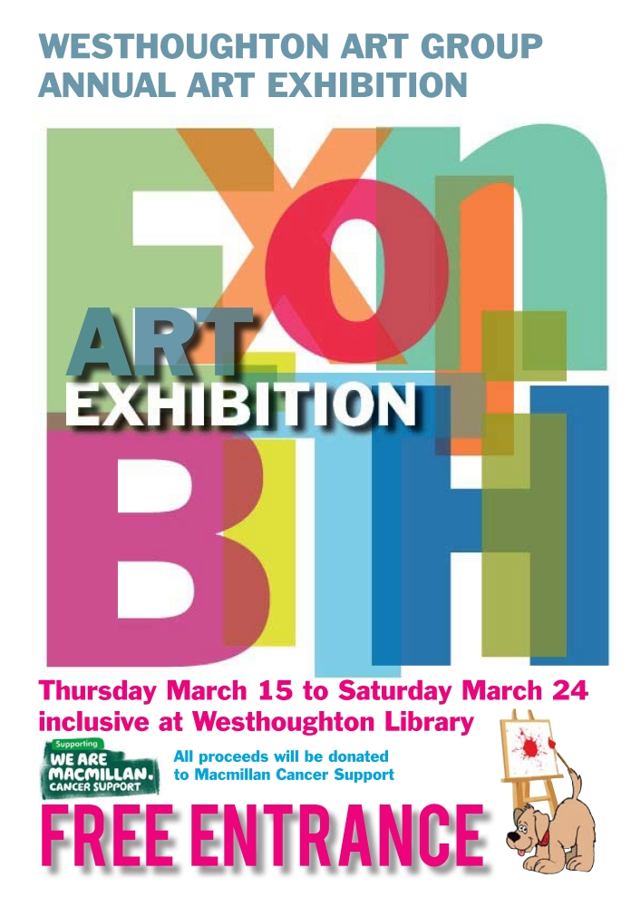 Westhoughton Art Group 2018 exhibition at Westhoughton Library poster - 2018 expo runs for two weeks from the Thursday 15th March.
