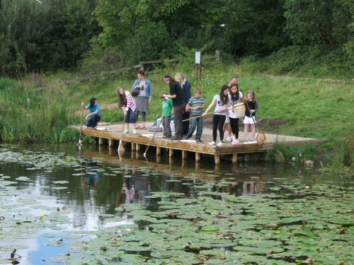 Eatock Lodge Family Funday 2011 - families try pond-dipping on the new dipping platform