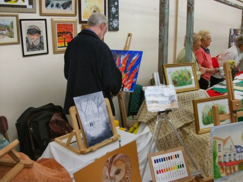 Westhoughton Art Group student at work during WCN Community Fayre 21 April 2012