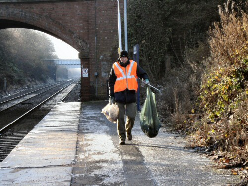 Work begins at Westhoughton Station with the Friends first work session - 2nd Dec 2012