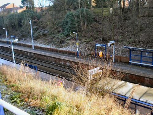 Westhoughton Station at outset - in need of tidying up