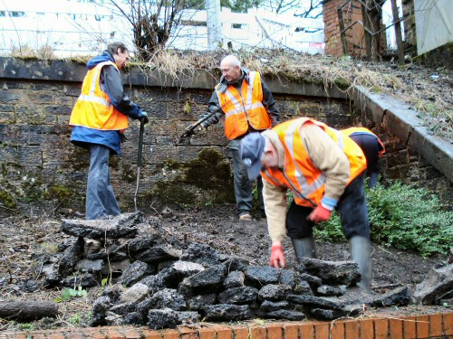 A further session at Westhoughton Station as the Friends clear and prepare a border - 3rd Feb 2013