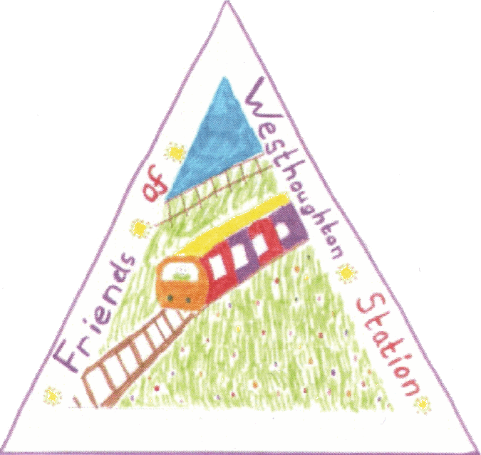 Friends of Westhoughton Station logo as designed by Sienna from St. Bartholomew's CE Primary School, Westhoughton.